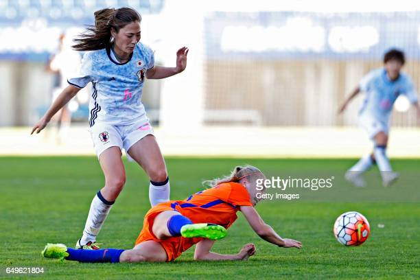 Rumi Utsugi of Japan Women challenges Jackie Groenen of Netherlands Women during the match between Japan v Netherlands Women's Algarve Cup on March 8...