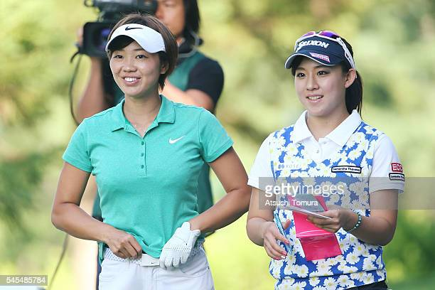 Rumi Yoshiba and Kotono Kozuma of Japan smile during the first round of the Nipponham Ladies Classics at the Ambix Hakodate Club on July 8 2016 in...