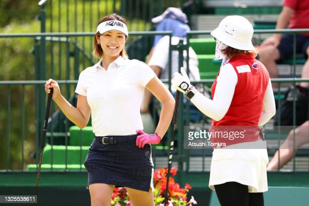 Rumi Yoshiba and Satsuki Oshiro of Japan talk on the 10th tee during the third round of the Earth Mondamin Cup at Camellia Hills Country Club on June...