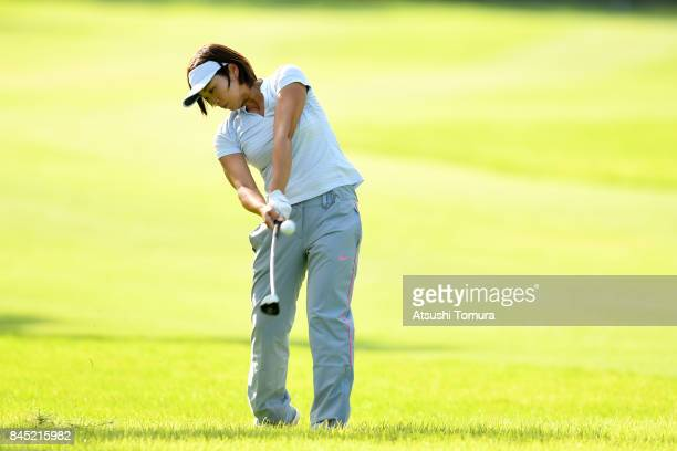 Rumi Yoshiba of Japan hits her second shot on the 11th hole during the final round of the 50th LPGA Championship Konica Minolta Cup 2017 at the Appi...
