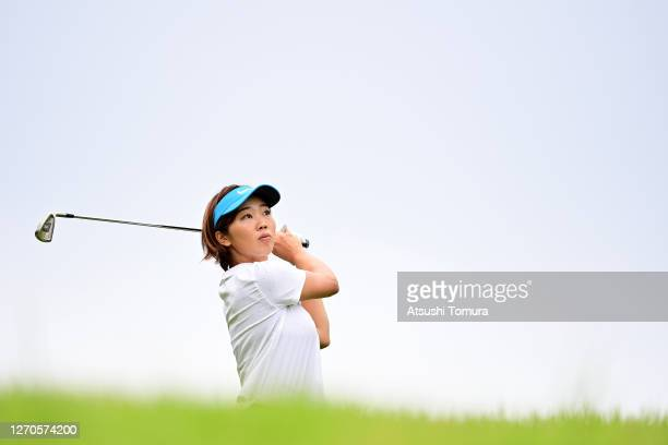 Rumi Yoshiba of Japan hits her second shot on the 17th hole during the first round of the GOLF5 Ladies Tournament at the GOLF5 Country Mizunami...