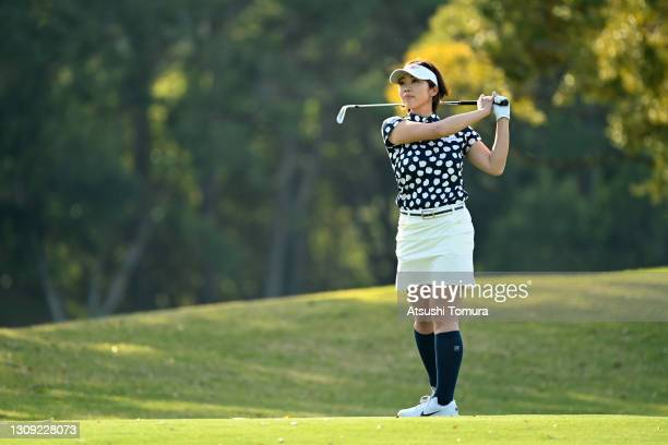 Rumi Yoshiba of Japan hits her second shot on the 18th hole during the first round of the AXA Ladies Golf Tournament at the UMK Country Club on March...