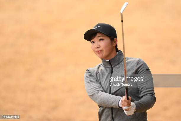 Rumi Yoshiba of Japan hits her second shot on the 1st hole during the first round of the Tokohama Tire PRGR Ladies Cup at Tosa Country Club on March...