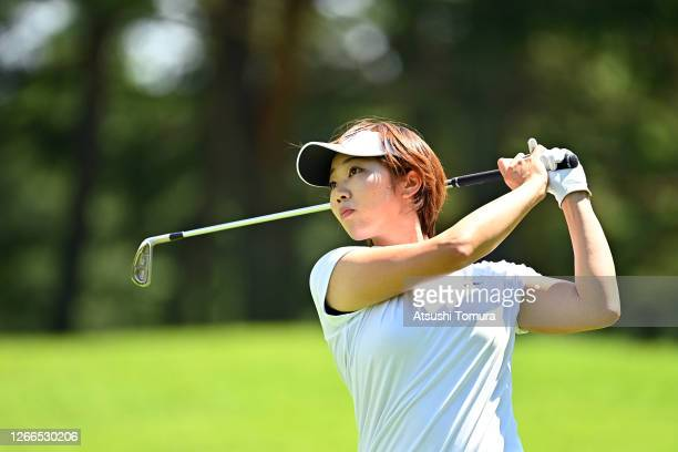 Rumi Yoshiba of Japan hits her second shot on the 4th hole during the final round of the NEC Karuizawa 72 Golf Tournament at the Karuizawa 72 Golf...