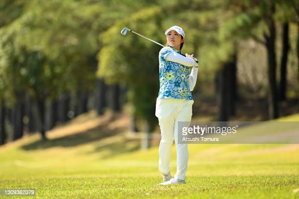 Rumi Yoshiba of Japan hits her second shot on the 5th hole during the second round of the AXA Ladies Golf Tournament at the UMK Country Club on March...