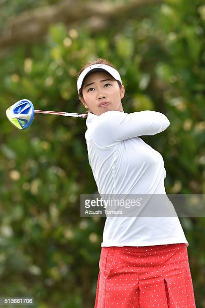 Rumi Yoshiba of Japan hits her tee shot on the 11th hole during the second round of the Daikin Orchid Ladies Golf Tournament at the Ryukyu Golf Club...