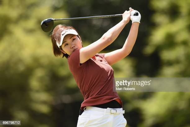 Rumi Yoshiba of Japan hits her tee shot on the 12th hole during the second round of the Nichirei Ladies at the on June 17 2017 in Chiba Japan