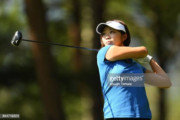Rumi Yoshiba of Japan hits her tee shot on the 12th hole during the third round of the 50th LPGA Championship Konica Minolta Cup 2017 at the Appi...