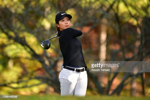 Rumi Yoshiba of Japan hits her tee shot on the 13th hole during the first round of the Daio Paper Elleair Ladies Open at the Elleair Golf Club...
