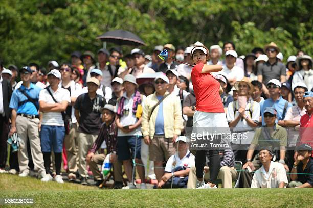 Rumi Yoshiba of Japan hits her tee shot on the 13th hole during the final round of the Yonex Ladies Golf Tournament 2016 at the Yonex Country Club on...
