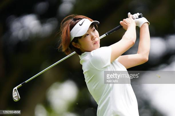 Rumi Yoshiba of Japan hits her tee shot on the 15th hole during the second round of the Earth Mondamin Cup at the Camellia Hills Country Club on June...