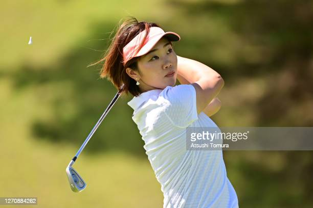 Rumi Yoshiba of Japan hits her tee shot on the 15th hole during the final round of the GOLF5 Ladies Tournament at the GOLF5 Country Mizunami Course...