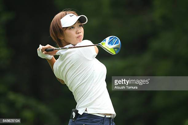 Rumi Yoshiba of Japan hits her tee shot on the 15th hole during the second round of the Nipponham Ladies Classics at the Ambix Hakodate Club on July...