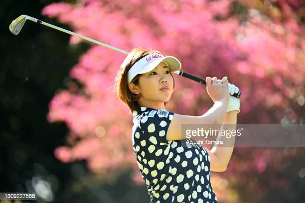 Rumi Yoshiba of Japan hits her tee shot on the 16th hole during the first round of the AXA Ladies Golf Tournament at the UMK Country Club on March...