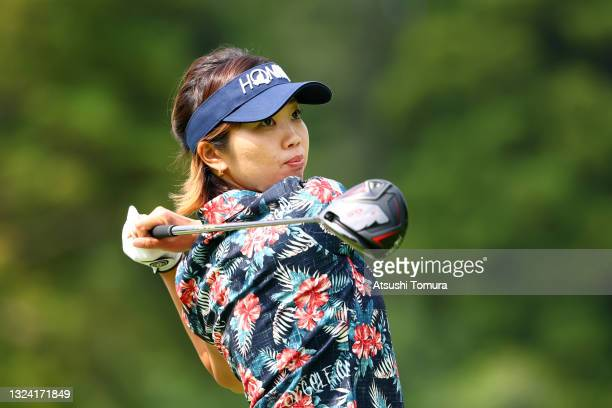 Rumi Yoshiba of Japan hits her tee shot on the 18th hole during the first round of Nichirei Ladies at Sodegaura Country Club Shinsode Course on June...