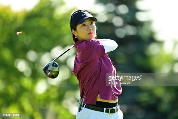 Rumi Yoshiba of Japan hits her tee shot on the 1st hole during a practice round ahead of the Nitori Ladies Golf Tournament at the Otaru Country Club...