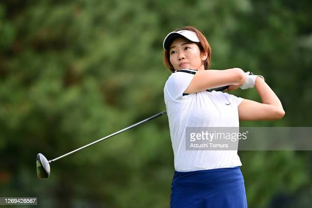 Rumi Yoshiba of Japan hits her tee shot on the 1st hole during the third round of the Nitori Ladies Golf Tournament at the Otaru Country Club on...