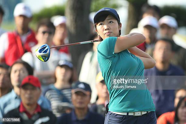 Rumi Yoshiba of Japan hits her tee shot on the 1st hole during the second round of the Miyagi TV Cup Dunlop Ladies Open 2016 at the Rifu Golf Club on...