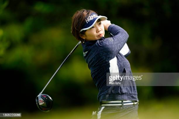 Rumi Yoshiba of Japan hits her tee shot on the 2nd hole during the first round of the Daikin Orchid Ladies at the Ryukyu Golf Club on March 4, 2021...