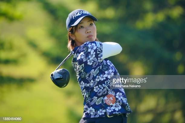 Rumi Yoshiba of Japan hits her tee shot on the 2nd hole during the final round of Daito Kentaku eHeyanet Ladies at Takino Country Club on July 25,...