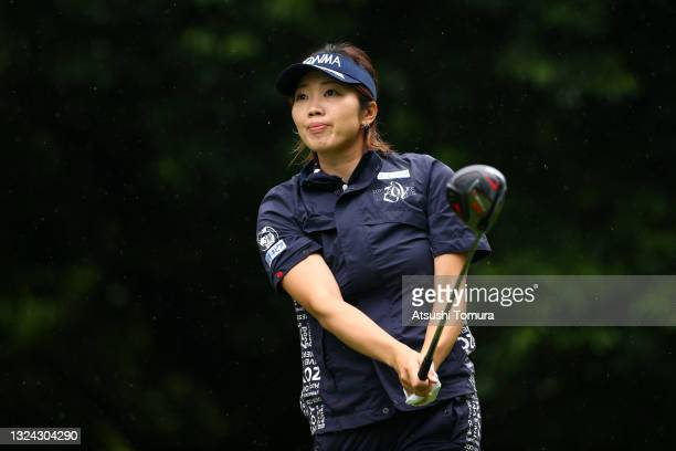 Rumi Yoshiba of Japan hits her tee shot on the 5th hole during the second round of Nichirei Ladies at Sodegaura Country Club Shinsode Course on June...