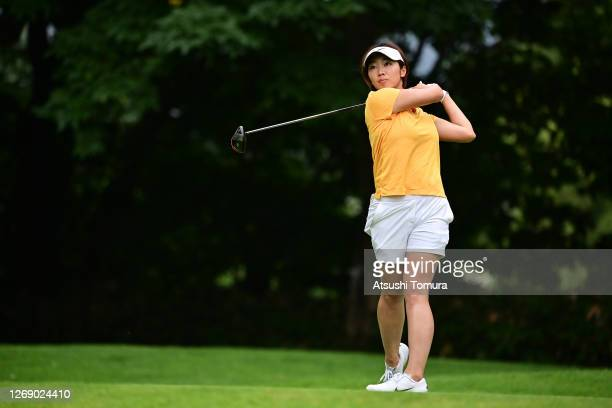 Rumi Yoshiba of Japan hits her tee shot on the 9th hole during the first round of the Nitori Ladies Golf Tournament at the Otaru Country Club on...