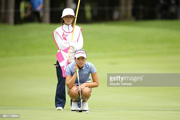 Rumi Yoshiba of Japan lines up her birdie putt during the second round of the Samantha Thavasa Girls Collection Ladies Tournament 2015 at the Eagle...