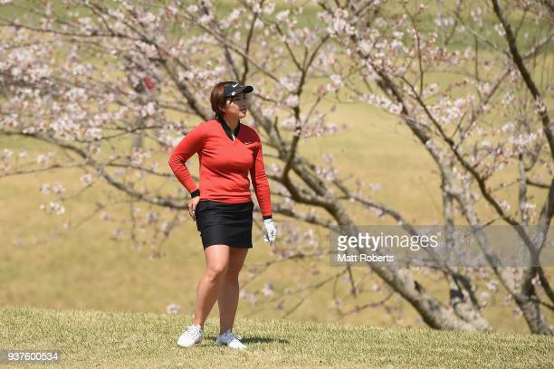 Rumi Yoshiba of Japan looks on during the final round of the AXA Ladies Golf Tournament In Miyazaki at the UMK Country Club on March 25 2018 in...