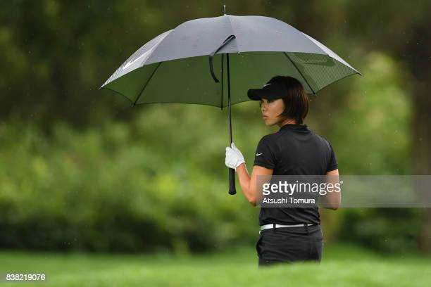 Rumi Yoshiba of Japan looks on during the first round of the Nitori Ladies 2017 at the Otaru Country Club on August 24, 2017 in Otaru, Hokkaido,...