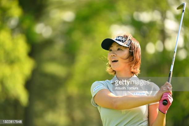 Rumi Yoshiba of Japan makes a chip-in-eagle as she hits her third shot on the 17th hole during the first round of the Ai Miyazato Suntory Ladies Open...