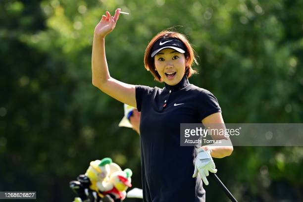 Rumi Yoshiba of Japan poses for photographs on the 15th hole during a practice round ahead of the Nitori Ladies Golf Tournament at the Otaru Country...