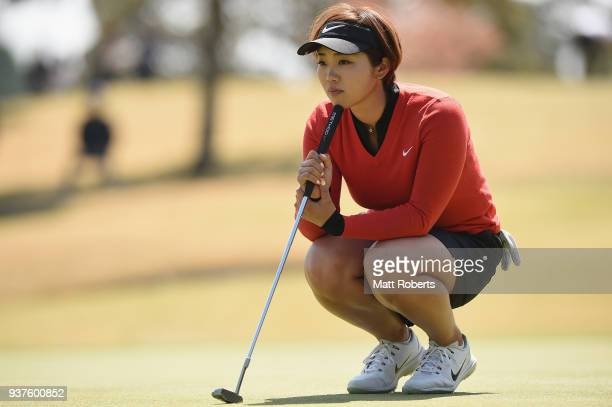 Rumi Yoshiba of Japan prepares to putt during the final round of the AXA Ladies Golf Tournament In Miyazaki at the UMK Country Club on March 25 2018...