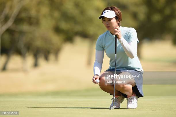 Rumi Yoshiba of Japan prepares to putt during the second round of the AXA Ladies Golf Tournament In Miyazaki at the UMK Country Club on March 24,...