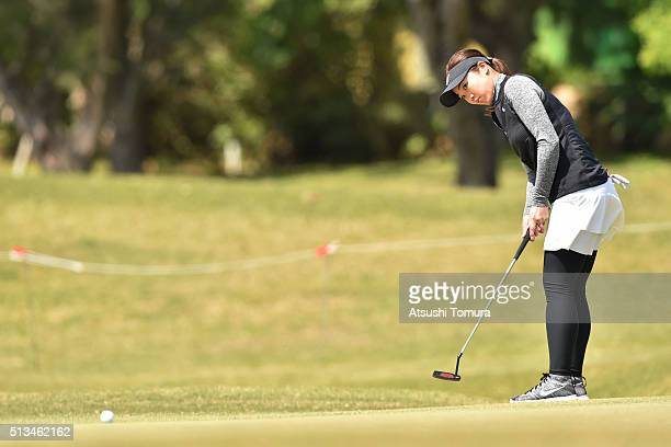 Rumi Yoshiba of Japan putts on the 3rd green during the first round of the Daikin Orchid Ladies Golf Tournament at the Ryukyu Golf Club on March 3...