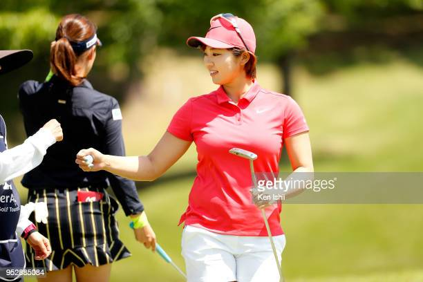 Rumi Yoshiba of Japan reacts after her putt on the 5th hole during the final round of the CyberAgent Ladies Golf Tournament at Grand fields Country...