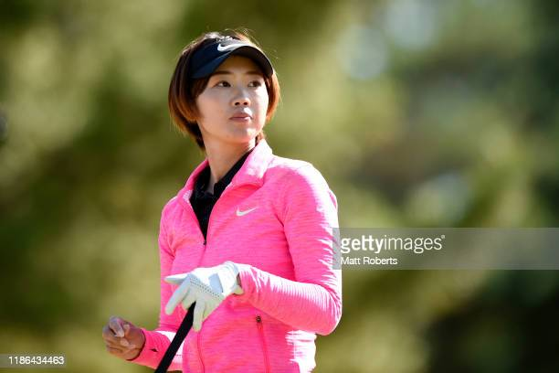 Rumi Yoshiba of Japan reacts after her tee shot on the 14th hole during the second round of the TOTO Japan Classic at Seta Golf Course North Course...