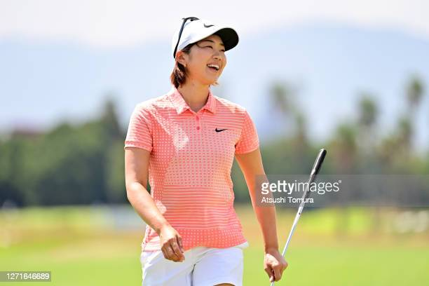 Rumi Yoshiba of Japan smiles after holing out on the 9th green during the first round of the JLPGA Championship Konica Minolta Cup at the JFE...