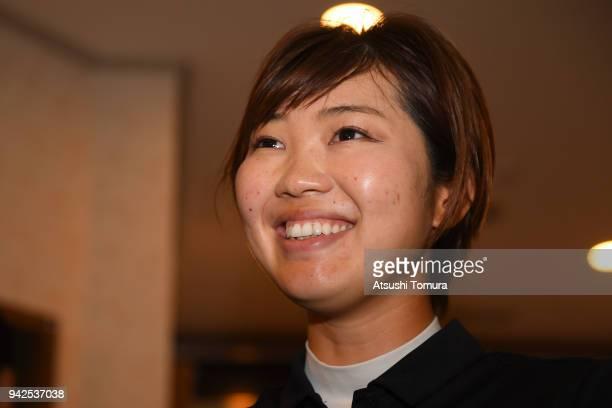 Rumi Yoshiba of Japan smiles during the first round of the Studio Alice Ladies Open at the Hanayashiki Golf Club Yokawa Course on April 6, 2018 in...