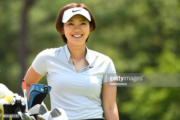 Rumi Yoshiba of Japan smiles during the third round of the Suntory Ladies Open at the Rokko Kokusai Golf Club on June 10 2017 in Kobe Japan