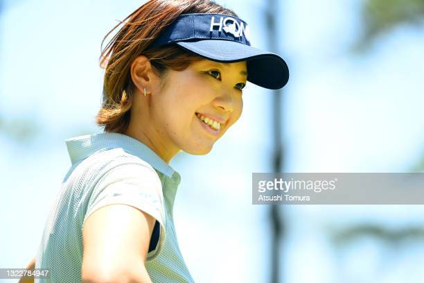 Rumi Yoshiba of Japan smiles on the 2nd hole during the first round of the Ai Miyazato Suntory Ladies Open at Rokko Kokusai Golf Club on June 10,...