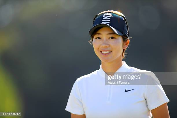 Rumi Yoshiba of Japan smiles on the 4th green during the third round of the Japan Women's Open Championship at Cocopa Resort Club Hakusan Village...