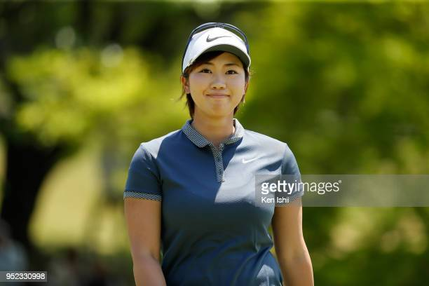 Rumi Yoshiba of Japan smiles on the 4th hole during the second round of the CyberAgent Ladies Golf Tournament at Grand fields Country Club on April...
