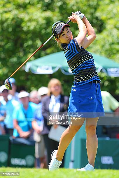 Rumi Yoshiba of Japan tees off at the par 4 1st hole during the third round of the 2015 US Womens Open played at Lancaster Country Club in Lancaster...