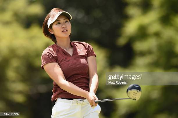 Rumi Yoshiba of Japan watches her tee shot on the 12th hole during the second round of the Nichirei Ladies at the on June 17 2017 in Chiba Japan