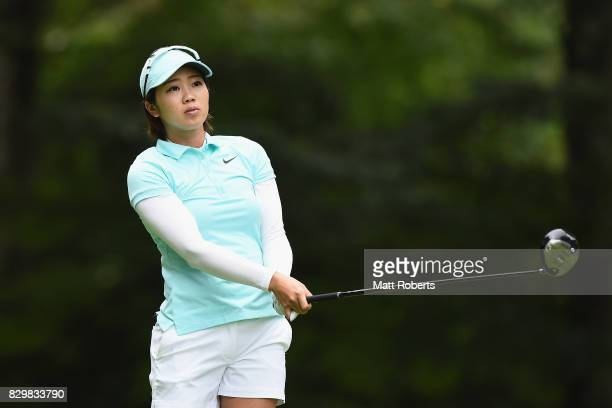 Rumi Yoshiba of Japan watches her tee shot on the 2nd hole during the first round of the NEC Karuizawa 72 Golf Tournament 2017 at the Karuizawa 72...