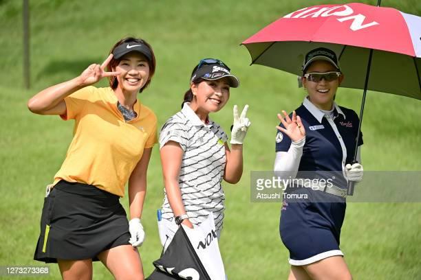Rumi Yoshiba, Serena Aoki and Kotono Kozuma of Japan smile during the first round of the Descente Ladies Tokai Classic at the Shin Minami Aichi...