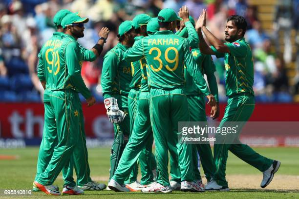 Rumman Raees celebrates taking the wicket of Alex Hales of England of Pakistan during the ICC Champions Trophy SemiFinal match between England and...