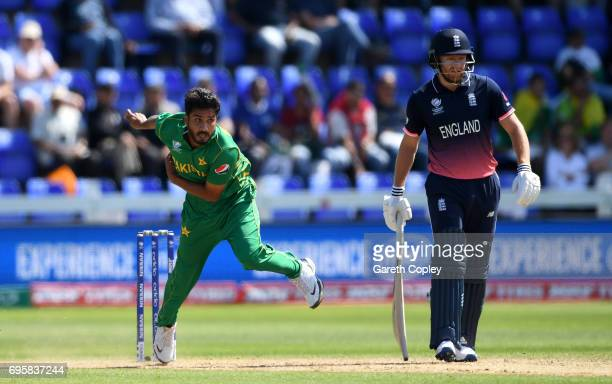 Rumman Raees of Pakistan bowls during the ICC Champions Trophy Semi Final between England and Pakistan at SWALEC Stadium on June 14 2017 in Cardiff...