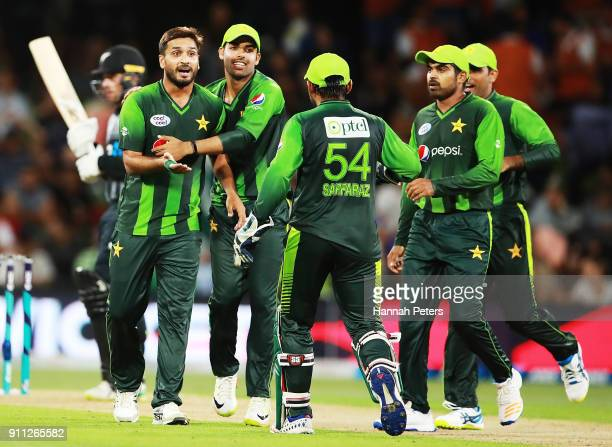 Rumman Raees of Pakistan celebrates after dismissing Tom Bruce of the Black Caps during game three of the International Twenty20 match between New...