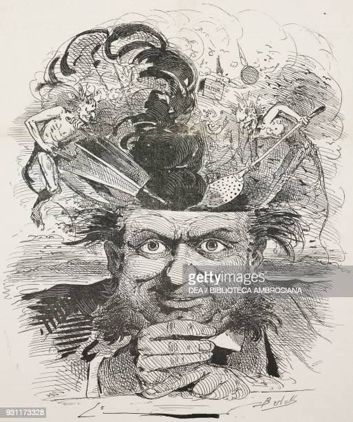 Rumours about the preparations for the Universal Exhibition of 1867 exhibitors' brains on the boil illustration by Bertall from the Journal Amusant...